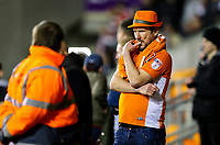 A Blackpool fan nervously watches the closing stages of the match<br /> <br /> Photographer Alex Dodd/CameraSport<br /> <br /> The EFL Sky Bet League One - Blackpool v Sunderland - Tuesday 1st January 2019 - Bloomfield Road - Blackpool<br /> <br /> World Copyright © 2019 CameraSport. All rights reserved. 43 Linden Ave. Countesthorpe. Leicester. England. LE8 5PG - Tel: +44 (0) 116 277 4147 - admin@camerasport.com - www.camerasport.com