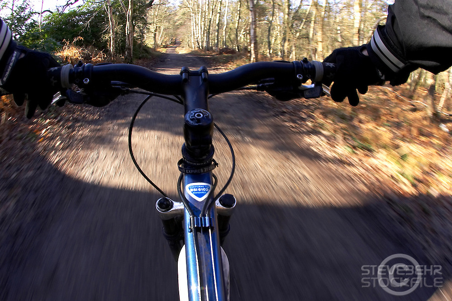 Cyclist point of view .Virginia Water , Surrey January 2008.pic copyright Steve Behr / Stockfile