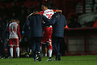 Injury concern for Kurtis Guthrie of Stevenage during Stevenage vs Peterborough United, Emirates FA Cup Football at the Lamex Stadium on 9th November 2019