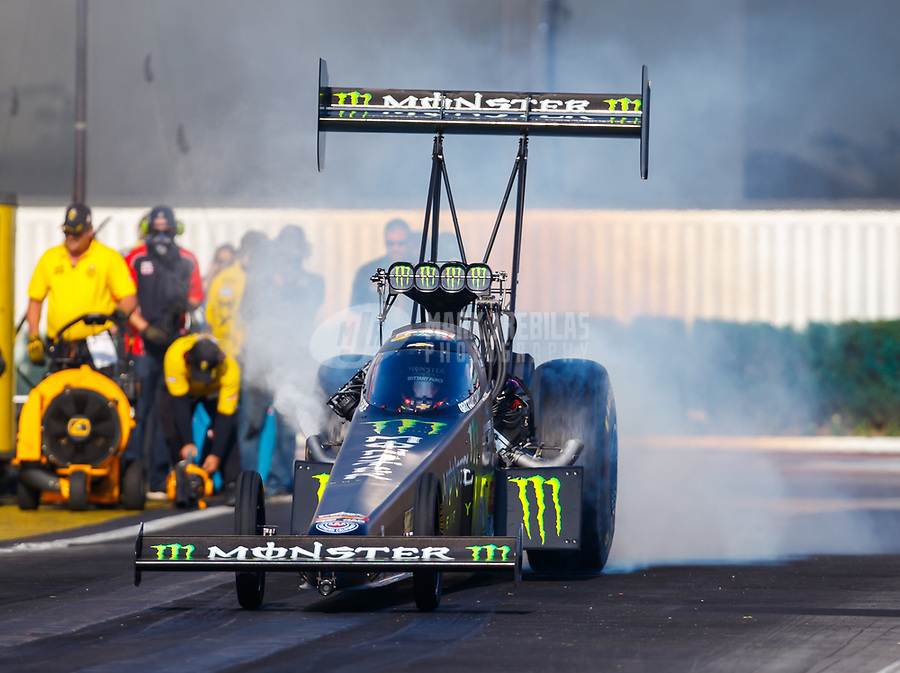 Nov 10, 2017; Pomona, CA, USA; NHRA top fuel driver Brittany Force during qualifying for the Auto Club Finals at Auto Club Raceway at Pomona. Mandatory Credit: Mark J. Rebilas-USA TODAY Sports