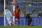1st December 2017, Stadio Olimpico, Rome, Italy; Serie A football. AS Roma versus Spal; The reflex save from Alisson Roma