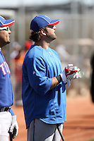 Mike Napoli #25 of the Texas Rangers participates in spring training workouts at the Rangers complex on February 21, 2011  in Surprise, Arizona. .Photo by:  Bill Mitchell/Four Seam Images.