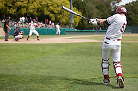 STANFORD, CA - May 22, 2011: Zach Jones of Stanford baseball swings on the on deck circle during Stanford's game against Arizona at Sunken Diamond. Stanford won 2-1.