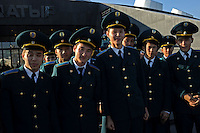 Military cadets pose for pictures  in the newly built capitol of Kazakhstan, called Astana which translates as &quot;capitol&quot; , 20th October 2010.<br />