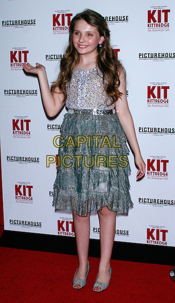 "ABIGAIL BRESLIN.New York Premiere of ""Kit Kittredge: An American Girl"" at the Ziegfeld Theatre, New York, NY, USA..June 19th, 2008.full length grey gray silver top skirt belt shoes beads beaded hand layers layered .CAP/LNC/RAO.© RAOUL/LNC/Capital Pictures."