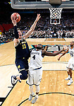 SAN ANTONIO, TX - APRIL 02:  Moritz Wagner #13 of the Michigan Wolverines shoots the ball against Eric Paschall #4 of the Villanova Wildcats in the 2018 NCAA Men's Final Four National Championship game at the Alamodome on April 2, 2018 in San Antonio, Texas.  (Photo by Brett Wilhelm/NCAA Photos via Getty Images)