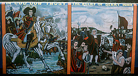 Loyalist mural, Fountain Street district, Londonderry, N Ireland, painted by Robert Jackson, a native of the area, August, 1977, 1977080118a<br />
