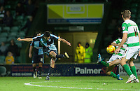 Luke O'Nien of Wycombe Wanderers scores to make it 1-0 during the Sky Bet League 2 match between Yeovil Town and Wycombe Wanderers at Huish Park, Yeovil, England on 24 November 2015. Photo by Andy Rowland.