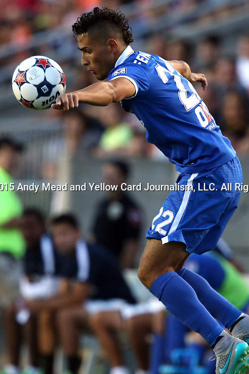 22 August 2015: New York's Leo Fernandes (BRA). The Carolina RailHawks hosted the New York Cosmos at WakeMed Stadium in Cary, North Carolina in a North American Soccer League 2015 Fall Season match. Cosmos won the game 3-1.
