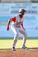 Lowell Spinners second baseman Raymel Flores (11) during a game against the Batavia Muckdogs on July 16, 2014 at Dwyer Stadium in Batavia, New York.  Lowell defeated Batavia 6-4.  (Mike Janes/Four Seam Images)