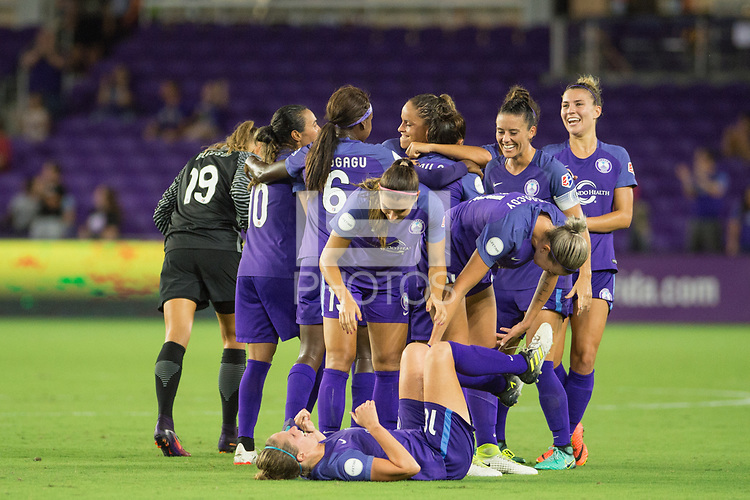 Orlando, FL - Tuesday August 08, 2017: Camila Martins Pereira , Orlando Pride celebrate a goal during a regular season National Women's Soccer League (NWSL) match between the Orlando Pride and the Chicago Red Stars at Orlando City Stadium.