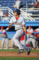 July 10th 2008:  Shortstop Ryan Dent of the Lowell Spinners, Class-A affiliate of the Boston Red Sox, during a game at Dwyer Stadium in Batavia, NY.  Photo by:  Mike Janes/Four Seam Images