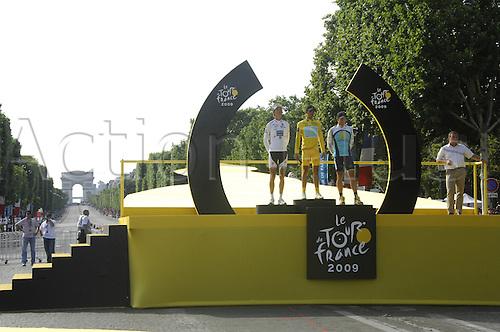 2009, Tour de France, Montereau Fault Yonne - Paris, Saxo Bank, Astana, Schleck Andy, Contador Alberto, Armstrong Lance, Hinault Bernard on winners podium, Paris 26th July 2009 Stage 21 Final Day (Photo: Stefano Sirotti/ActionPlus)