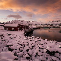 Red huts at sunset in winter, Kabelvåg, Austvågøy, Lofoten Islands, Norway