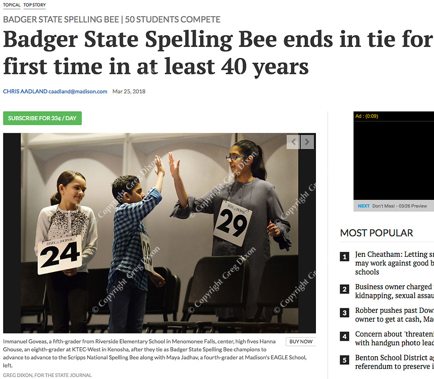 Maya Jadhav (Madison EAGLE School), Immanuel Goveas (Menomonee Falls Riverside Elementary), and Hanna Ghouse (Kenosha KTEC West; Left to Right) high five each other as they advance to the Scripps National Spelling Bee. | Wisconsin State Journal article front page Local 3/25/18 and online at http://host.madison.com/wsj/news/local/badger-state-spelling-bee-ends-in-tie-for-first-time/article_d932d491-0bfc-56cd-8a9c-0204bfce2522.html