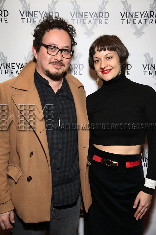 "Michael Braun and Palmer Hefferan attending the Opening Night Performance for The Vineyard Theatre production of  ""Do You Feel Anger?"" at the Vineyard Theatre on April 2, 2019 in New York City."
