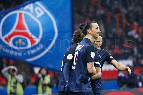 02.04.2016. Paris, France. French League 1 football. Paris St Germain versus Nice.  Zlatan Ibrahimovic (psg) celebrates with Christopher Alan NKUNKU (psg)and Adrien Rabiot (psg)