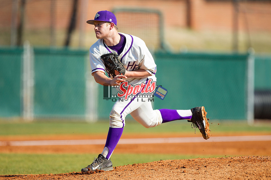 High Point Panthers relief pitcher Cas Silber (29) follows through on his delivery against the Bowling Green Falcons at Willard Stadium on March 9, 2014 in High Point, North Carolina.  The Falcons defeated the Panthers 7-4.  (Brian Westerholt/Sports On Film)