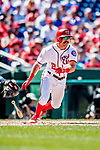 23 August 2018: Washington Nationals outfielder Adam Eaton in action against the Philadelphia Phillies at Nationals Park in Washington, DC. The Phillies shut out the Nationals 2-0 to take the 3rd game of their 3-game mid-week divisional series. Mandatory Credit: Ed Wolfstein Photo *** RAW (NEF) Image File Available ***