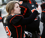 Taylor Hay (12) from from Edwardsville is a running back on the St. Louis Slam women's football team. They recently played the Chicago Force at Lindenwood University - Belleville.