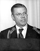 Washington, DC - July 6, 2009 -- Former United States Secretary of Defense Robert S. McNamara, Architect of Vietnam War, died in his sleep at his home in Washington in the early morning of Monday, July 6, 2009. McNamara, who served as Secretary of Defense under Presidents Kennedy and Johnson, was 93.  This file photo from September 29, 1968 pictures McNamara, as President of the World Bank, addressing the opening session of the International Monetary Fund (IMF) Board of Governors meeting at the Sheraton Park Hotel in Washington, D.C..Credit: Arnie Sachs / CNP