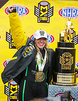 Nov 12, 2017; Pomona, CA, USA; NHRA top fuel driver Brittany Force celebrates after clinching the 2017 NHRA top fuel dragster world championship during the Auto Club Finals at Auto Club Raceway at Pomona. Mandatory Credit: Mark J. Rebilas-USA TODAY Sports