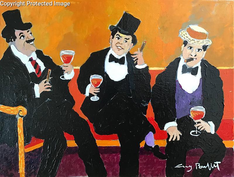 """""""Trois Bon Vivants""""<br /> ORIGINAL Acrylic on Canvas<br /> 11"""" x 14""""<br /> $5,500"""