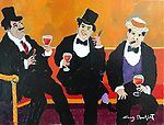 """Trois Bon Vivants""<br />  11x14 Acrylic on Canvas<br /> $6,500"