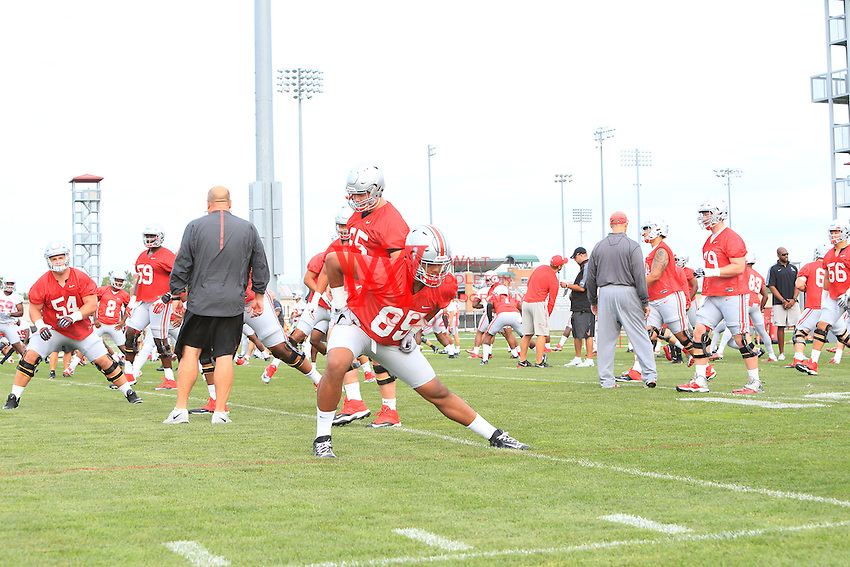 The Ohio State University football team first full team practice of the 2016 season.