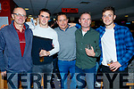 John Delaney, Rian O'Sullivan, Mike Dolan, Tim Falvey and Andrew Finn, pictured at Annascaul Night at the Dogs in the Kingdom Greyhound Stadium, Tralee on Saturday night last.