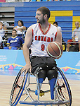 November 18 2011 - Guadalajara, Mexico:  Adam Lancia of Team Canada controls the ball in the CODE Alcalde Sports Complex at the 2011 Parapan American Games in Guadalajara, Mexico.  Photos: Matthew Murnaghan/Canadian Paralympic Committee
