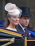 """KATE AND PRINCE WILLIAM.ride in the carriage for the trip from Westminster Hall to Buckingham Palace for the Finale of the 4 day Diamond Jubilee Celebration.  London_05/06/2012.Mandatory Credit Photo: ©J Reynolds/NEWSPIX INTERNATIONAL..**ALL FEES PAYABLE TO: """"NEWSPIX INTERNATIONAL""""**..IMMEDIATE CONFIRMATION OF USAGE REQUIRED:.Newspix International, 31 Chinnery Hill, Bishop's Stortford, ENGLAND CM23 3PS.Tel:+441279 324672  ; Fax: +441279656877.Mobile:  07775681153.e-mail: info@newspixinternational.co.uk"""