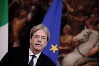 Roma, 7 Aprile 2017<br /> Palazzo Chigi<br /> Il primo ministro Paolo Gentiloni rilascia alla stampa una dichiarazione in merito all'attaco Usa in Siria