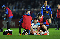 Francois Louw of Bath Rugby is treated for an injury during a break in play. European Rugby Champions Cup match, between Leinster Rugby and Bath Rugby on January 16, 2016 at the RDS Arena in Dublin, Republic of Ireland. Photo by: Patrick Khachfe / Onside Images