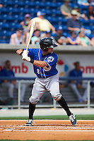 Biloxi Shuckers catcher Adam Weisenburger (8) at bat during the first game of a double header against the Pensacola Blue Wahoos on April 26, 2015 at Pensacola Bayfront Stadium in Pensacola, Florida.  Biloxi defeated Pensacola 2-1.  (Mike Janes/Four Seam Images)