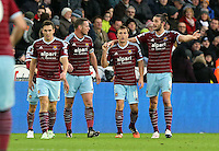 Pictured: Andy Carroll of West Ham (R) celebrating his opening goal Saturday 10 January 2015<br />