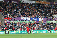 The eteach stand with adverts from J&J Motors, Peters Pies, SCP and morganstone during the Premier League match between Swansea City and Huddersfield Town at The Liberty Stadium, Swansea, Wales, UK. Saturday 16 October 2017