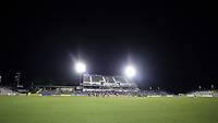 Cary, North Carolina  - Saturday June 17, 2017: A wide shot of Sahlen's Stadium during a regular season National Women's Soccer League (NWSL) match between the North Carolina Courage and the Boston Breakers at Sahlen's Stadium at WakeMed Soccer Park. The Courage won the game 3-1.