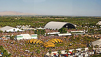 A view of the Sahara Tent and The Terrace from the famous ferris wheel at the Coachella grounds, La Grande Wheel on Sunday, April 20th.