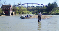 NWA Democrat-Gazette/FLIP PUTTHOFF <br />Jonathan Gathright of Bentonville fly-fishes for redhorse suckers April 26 2018 near the War Eagle bridge. Gathright and Tomek Siwiec of Rogers caught several while casting Clouser minnows.
