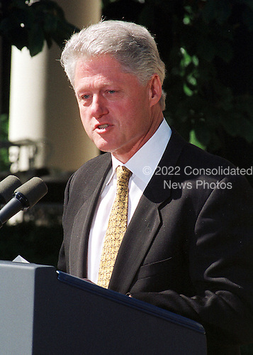 """United States President Bill Clinton makes a statement prior to vetoing the Republican's 792 billion dollar tax cut on September 23, 1999.  He called on Congress to approve """"tax relief we can afford"""" by the end of the year.  Clinton rejected the tax bill because it would """"turn us back to the failed policies of the past"""".  He also said he wanted to work with GOP leaders on an alternative plan """"that reflects the priorities of both parties and the values of the American people""""..Credit: Ron Sachs / CNP"""
