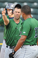 Hitting coach Josh Bonifay (24) of the Lexington Legends, a Houston Astros affiliate, prior to a game against the Greenville Drive on May 2, 2012, at Fluor Field at the West End in Greenville, South Carolina. Lexington won, 4-2. (Tom Priddy/Four Seam Images)