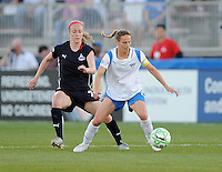 Boston Breakers midfielder Kristine Lilly (13) shields the ball against Washington Freedom defender Becky Sauerbrunn (22).  Boston Breakers defeated The Washington Freedom 3-1 at The Maryland SoccerPlex,  Saturday April 18, 2009.