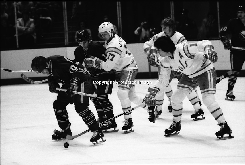California Golden Seals vs Buffalo Sabres, #17 John Stewart and #15 Jim Neilson.<br />