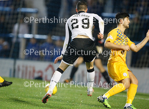 Greenock Morton v St Johnstone...27.10.15  League Cup Quarter Final, Cappielow...<br /> Michael O'Halloran makes it 2-1<br /> Picture by Graeme Hart.<br /> Copyright Perthshire Picture Agency<br /> Tel: 01738 623350  Mobile: 07990 594431