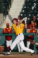 Matt Float #7 of the USC Trojans bats against the California Bears at Dedeaux Field on April 5, 2012 in Los Angeles,California. California defeated USC 5-4.(Larry Goren/Four Seam Images)
