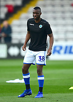 Macclesfield Town's Brice Ntambwe during the pre-match warm-up<br /> <br /> Photographer Andrew Vaughan/CameraSport<br /> <br /> The EFL Sky Bet League Two - Lincoln City v Macclesfield Town - Saturday 30th March 2019 - Sincil Bank - Lincoln<br /> <br /> World Copyright © 2019 CameraSport. All rights reserved. 43 Linden Ave. Countesthorpe. Leicester. England. LE8 5PG - Tel: +44 (0) 116 277 4147 - admin@camerasport.com - www.camerasport.com