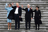 First Lady Melania Trump, United States President Donald Trump, Vice President Mike Pence and Karen Pence wave goodbye to Barack and Michelle Obama on the West Front of the U.S. Capitol on January 20, 2017 in Washington, DC. In today's inauguration ceremony Donald J. Trump becomes the 45th president of the United States. <br /> Credit: Rob Carr / Pool via CNP