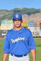 Jose De Leon (18) of the Ogden Raptors poses for a photo during media day on June 14, 2014 at Lindquist Field in Ogden, Utah. (Stephen Smith/Four Seam Images)