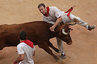 Release of heifers of San Fermin in bull square at Pamplona, after the bull runing. July 07, 2016. (ALTERPHOTOS/Rodrigo Jimenez) /NortePhoto.com